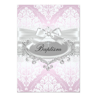 Pretty Pink Damask & Bow Baptism Invitation