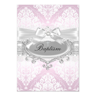 "Pretty Pink Damask & Bow Baptism Invitation 5"" X 7"" Invitation Card"