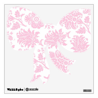 Pretty Pink Damask Bow Room Stickers