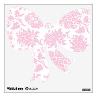 Pretty Pink Damask Bow Wall Sticker
