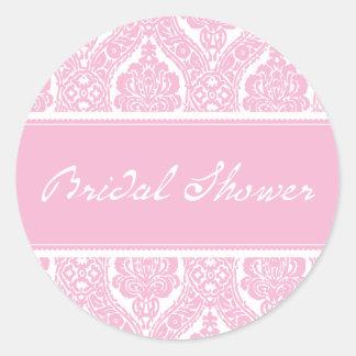 Pretty Pink Damask-Bridal Shower Sticker
