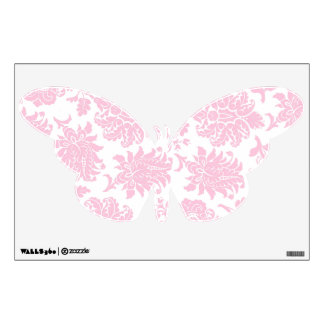 Pretty Pink Damask Butterfly Wall Stickers