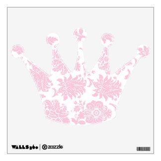 Pretty Pink Damask Crown Wall Sticker