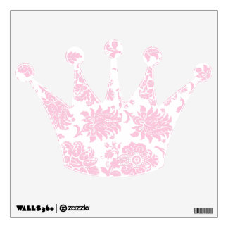 Pretty Pink Damask Crown Room Sticker