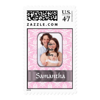Pretty pink damask custom photo postage