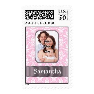 Pretty pink damask custom photo postage
