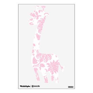 Pretty Pink Damask Giraffe Wall Sticker