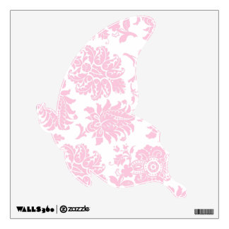 Pretty Pink Damask Gliding Butterfly Wall Decal