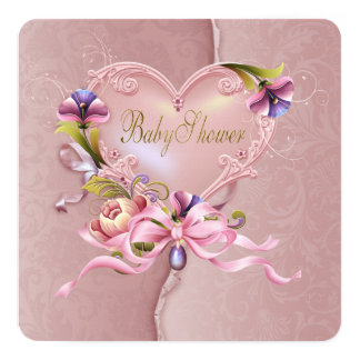 Pretty Pink Damask Heart Baby Shower Card