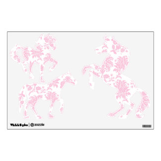 Pretty Pink Damask Horses Room Graphics