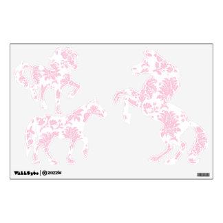 Pretty Pink Damask Horses Wall Sticker