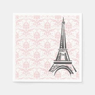 Pretty Pink Damask Paris Disposable Napkins