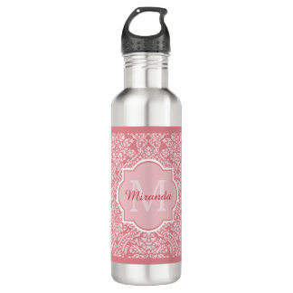 Pretty Pink Damask Pattern Monogram With Name Stainless Steel Water Bottle