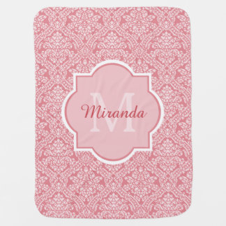 Pretty Pink Damask Pattern Monogram With Name Stroller Blanket