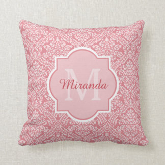 Pretty Pink Damask Pattern Monogram With Name Throw Pillow