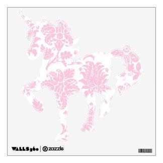Pretty Pink Damask Prancing Unicorn Wall Decal