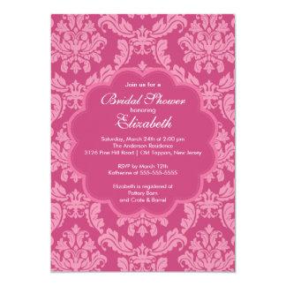 Pretty Pink Damask Spring Bridal Shower Invitation