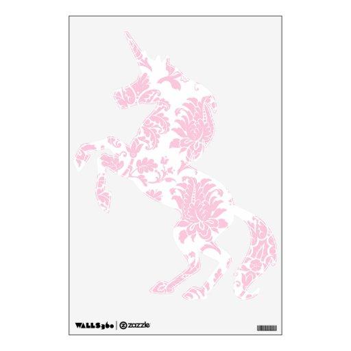 Pretty Pink Damask Unicorn Room Stickers