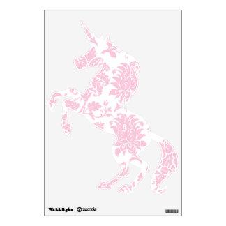 Pretty Pink Damask Unicorn Wall Sticker