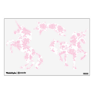 Pretty Pink Damask Unicorns and Shooting Star Wall Sticker