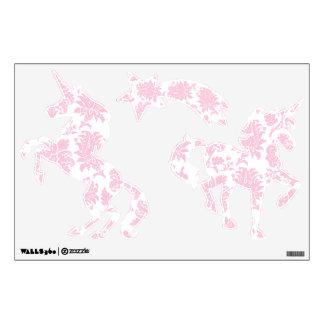 Pretty Pink Damask Unicorns and Shooting Star Wall Graphic