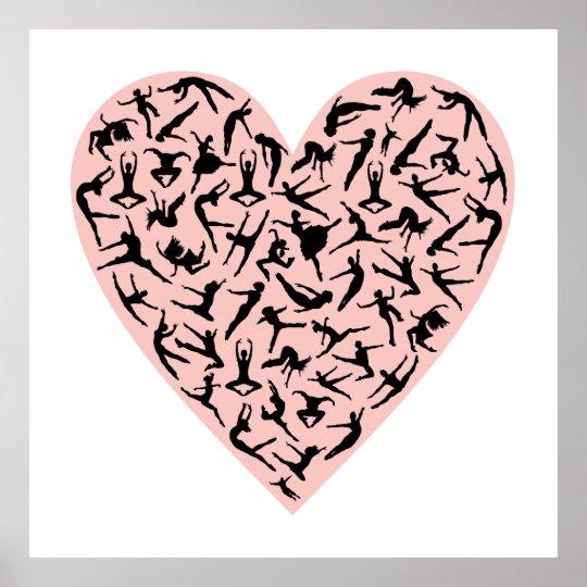 Pretty Pink Dance Heart Poster