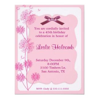 Pretty Pink Dandelion Birthday Party Invitation