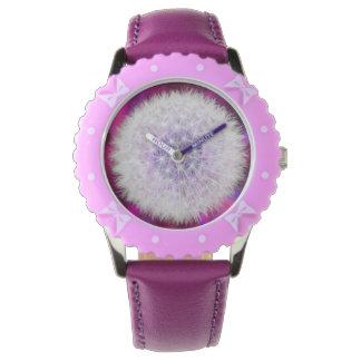 Pretty pink dandelion clock kid's wristwatch