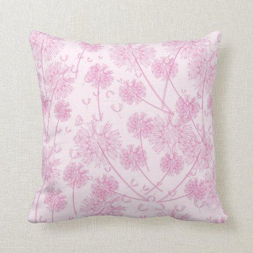 pretty pink dandelions pillow