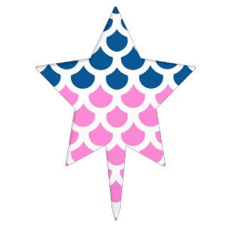 Pretty Pink/ Deep Ocean Fish Scale 2 Cake Topper