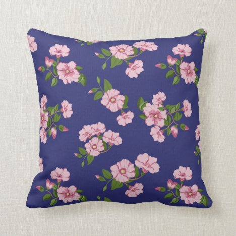 Pretty pink desert roses on navy throw pillow