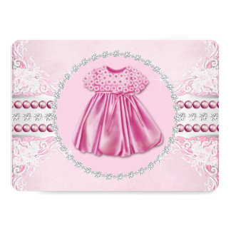Pretty Pink Diamonds and Pearls Baby Shower Card