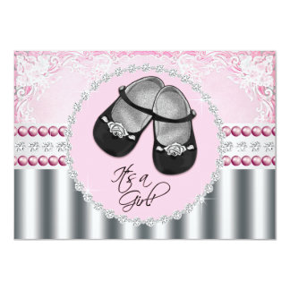 Pretty Pink Diamonds and Pearls Baby Shower 4.5x6.25 Paper Invitation Card