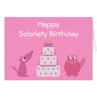 Pretty Pink Dog, Cat & Birthday Cake Sobriety Card