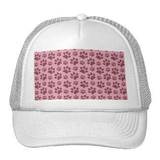 Pretty pink dog paw print pattern trucker hat