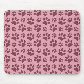 Pretty pink dog paw print pattern mouse pad