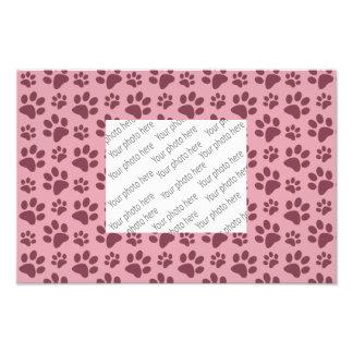 Pretty pink dog paw print pattern photo print