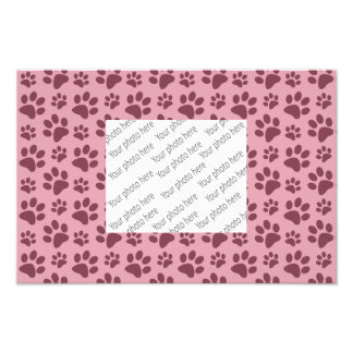 Pretty pink dog paw print pattern art photo