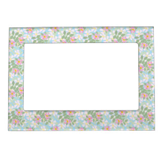 Pretty Pink Dogroses on Sky Blue Picture Frame Photo Frame Magnets