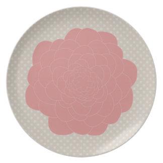 Pretty Pink Doodle Flower Melamine Plate