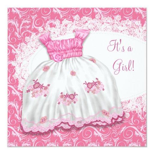pretty pink dress baby shower card zazzle