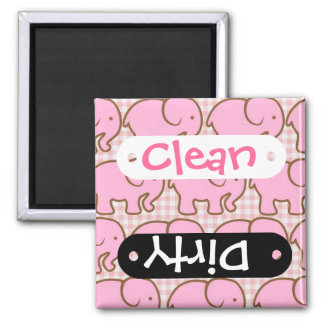 Pretty Pink Elephants on Pink Gingham Pattern 2 Inch Square Magnet