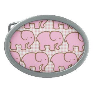 Pretty Pink Elephants on Pink Plaid Pattern Belt Buckles