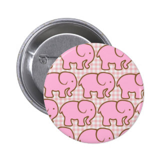 Pretty Pink Elephants on Pink Plaid Pattern Buttons