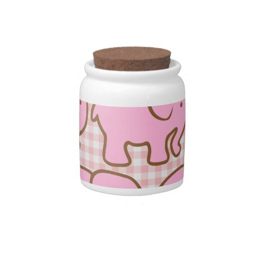 Pretty Pink Elephants on Pink Plaid Pattern Candy Jars