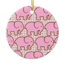 Pretty Pink Elephants on Pink Plaid Pattern Ceramic Ornament
