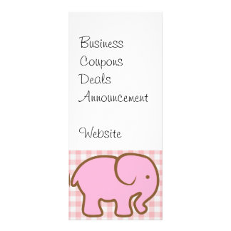 Pretty Pink Elephants on Pink Plaid Pattern Rack Card