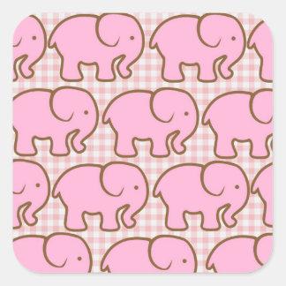 Pretty Pink Elephants on Pink Plaid Pattern Square Sticker