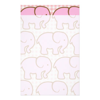 Pretty Pink Elephants on Pink Plaid Pattern Stationery