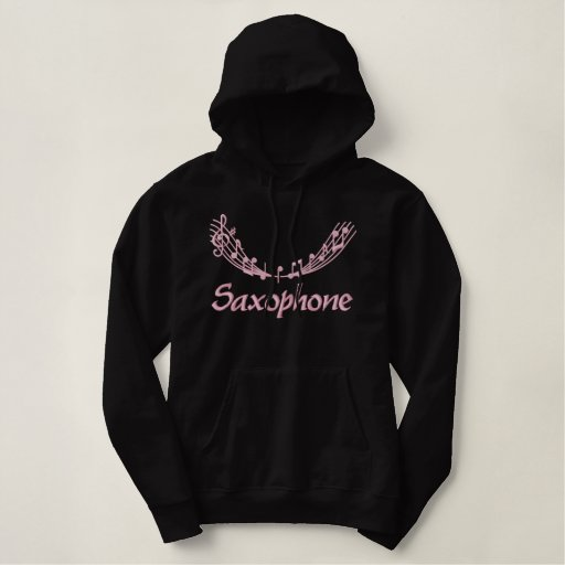 Pretty Pink Embroidery Saxophone Hoodie